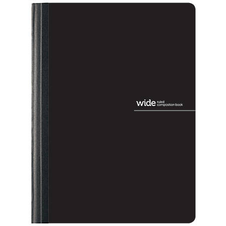 "Office Depot® Brand Poly Composition Book, 7 1/2"" x 9 3/4"", Wide Ruled, 160 Pages (80 Sheets), Black"