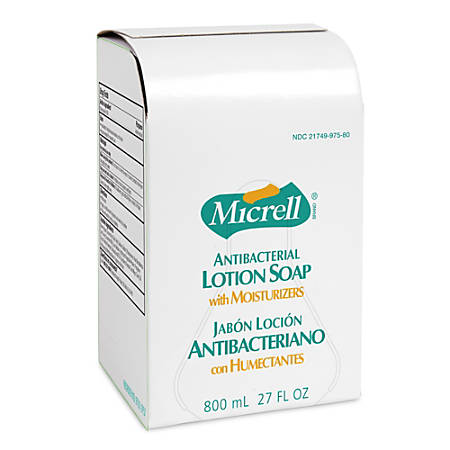 Gojo® Micrell Antibacterial Lotion Soap Refills, Light Scent, 800 Ml, Case Of 6