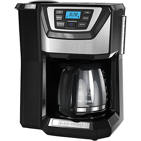 Black & Decker 12-Cup Mill & Brew Coffeemaker - Programmable - 12 Cup(s) - Multi-serve - Grinder - Coffee Strength Setting - Black - Stainless Steel, Plastic, Glass