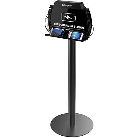 ChargeTech Floor Stand Charging Station - Wired - Smartphone, Tablet PC - Charging Capability - Black