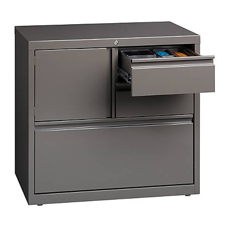 "WorkPro® 30""W Metal Lateral File Cabinet With Storage, Medium Tone"