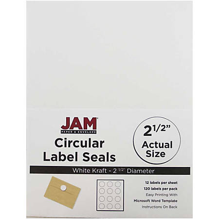 "JAM Paper® Circle Label Sticker Seals, 2 1/2"", White, Pack Of 120"