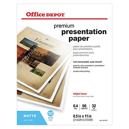 "Office Depot® Brand Double-Sided Presentation Paper, Matte, 8 1/2"" x 11"", 32 Lb, Pack Of 100 Sheets"