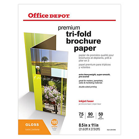 """Office Depot® Double-Sided Presentation Paper, Glossy, Tri-Fold, Letter Size (8 1/2"""" x 11""""), 50 Lb, Ream Of 100 Sheets"""