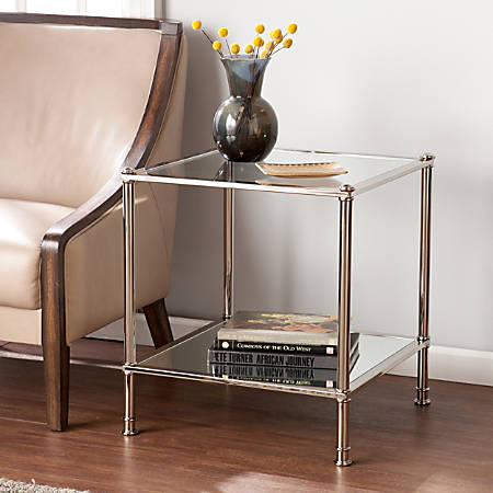 Southern Enterprises Paschall End Table, Square, Clear/Silver