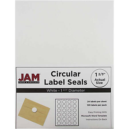 """JAM Paper® Circle Label Sticker Seals, 1 11/16"""", White, Pack Of 120"""