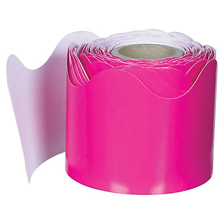 """Carson-Dellosa Plain Continuous-roll Scalloped Border - (Scalloped) Shape - 2.25"""" Width x 432"""" Length - Hot Pink - 1 Roll"""
