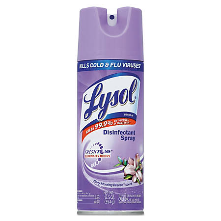 Lysol® Disinfectant Spray, Early Morning Breeze, 12.5 Oz, Pack Of 12