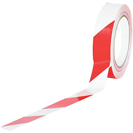 "BOX Packaging Striped Vinyl Tape, 3"" Core, 1"" x 36 Yd., Red/White, Case Of 48"