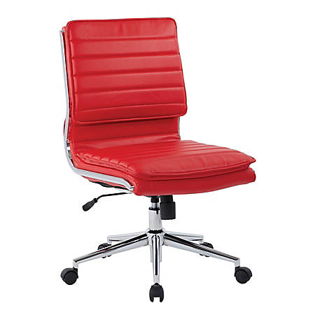 Pro-Line II™ SPX Armless Bonded Leather Mid-Back Chair, Red/Chrome