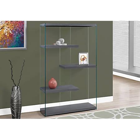 Monarch Specialties Open-Concept 4-Shelf Bookcase, Gray Wood-Look