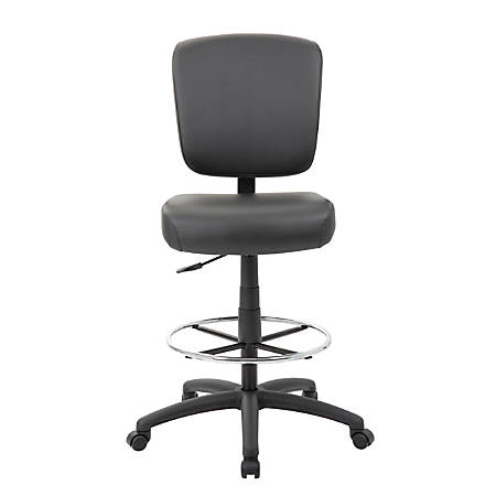 Boss Office Products Oversized Armless Drafting Stool, Black