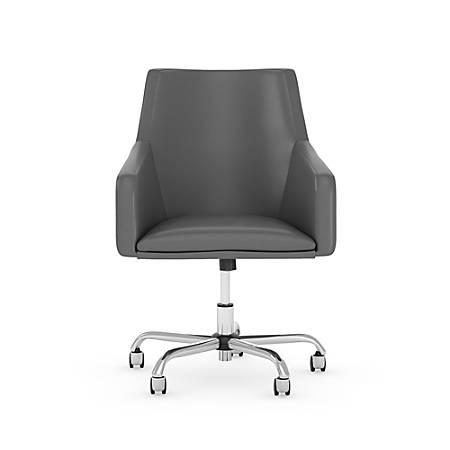 Bush Business Furniture London Mid-Back Leather Box Chair, Dark Gray, Premium Installation