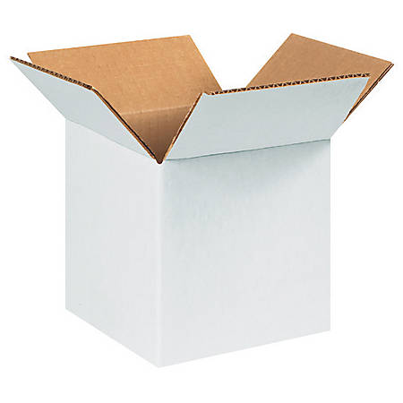 5in(L) x 5in(W) x 5in(D) - Corrugated White Shipping Boxes