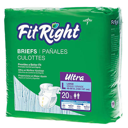 "FitRight Ultra Briefs, Large, 48 - 58"", Blue, 20 Briefs Per Bag, Case Of 4 Bags"
