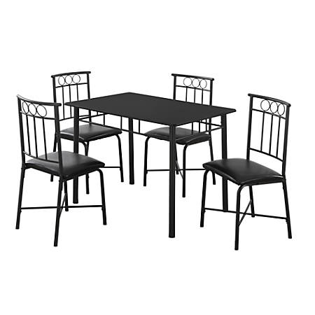 Monarch Specialties Metal 5-Piece Dining Set, Rectangle, Black