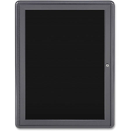 "Ghent 1-door Ovation Enclosed Letterboard - 34"" Height x 24"" Width - Black Fabric Surface - Shatter Resistant, Locking Door, Mounting System - Gray Aluminum Frame - 1 Each"