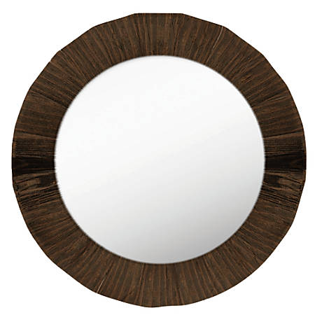 "PTM Images Framed Mirror, Round, 28""H x 28""W, Natural Wood"