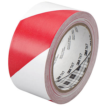"""3M™ 767 Striped Vinyl Tape, 3"""" Core, 2"""" x 36 Yd., Red/White, Case Of 24"""
