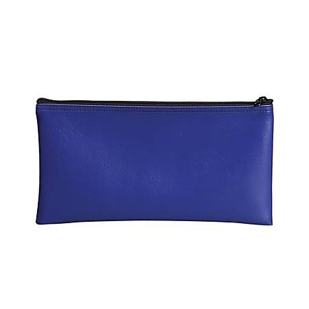 "PM™ Company Bank Deposit/Utility Zipper Bag, 11"" x 6"", Blue"