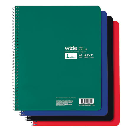 "Office Depot® Brand Wirebound Notebook, 7"" x 8 1/2"", Wide Ruled, 40 Sheets"