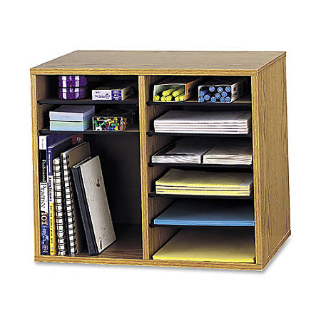 "Safco® Wood Adjustable 12-Compartment Literature Organizer, 16""H x 19 1/2""W x 12""D, Gray"