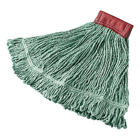 Rubbermaid® Wet Mop Head, Super Stitch®, Cotton Blend, Green, Case Of 6