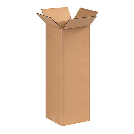 """B O X Packaging Corrugated Shipping Boxes, 8"""" x 8"""" x 20"""", Brown, Pack Of 25"""