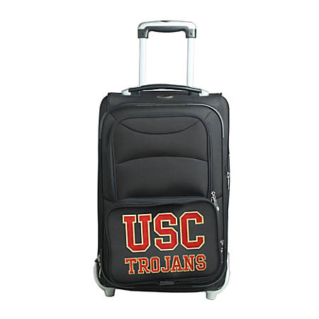 """Denco Sports Luggage NCAA Expandable Rolling Carry-On, 20 1/2"""" x 12 1/2"""" x 8"""", USC Trojans, Black"""