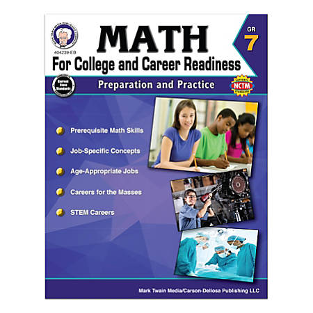 Carson-Dellosa Math For College And Career Readiness Workbook, Grade 7