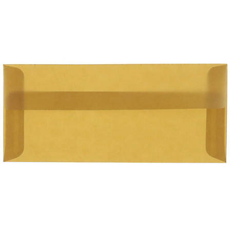 """JAM Paper® Translucent Business Booklet Envelopes With Gummed Closure, #10, 4 1/8"""" x 9 1/2"""", Earth Brown, Pack Of 25"""