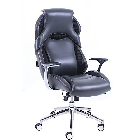 """Lorell Executive High-back Leather Chair - Bonded Leather Black Seat - Bonded Leather Black Back - 5-star Base - 30.3"""" Length x 27"""" Width x 48.5"""" Height"""