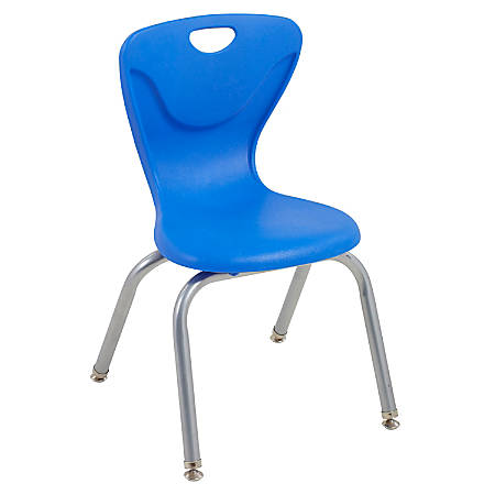 """ECR4Kids Contour Stacking Chairs, 25 13/16""""H, Blue/Silver, Set Of 4"""