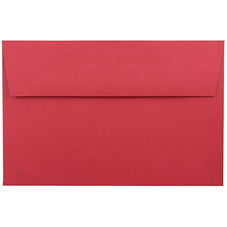 "JAM Paper® Booklet Invitation Envelopes, A9, 5 3/4"" x 8 3/4"", 30% Recycled, Red, Pack Of 25"