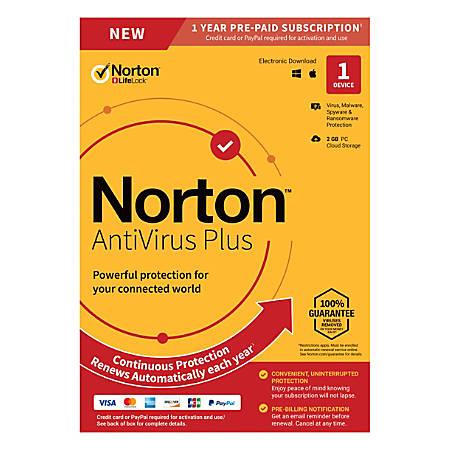 Norton AntiVirus™ Plus, 1 Device, 1-Year Subscription, Auto-Renewal, Download