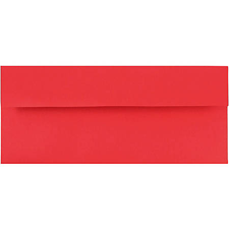 "JAM Paper® Booklet Envelopes With Gummed Closure (Recycled), #10, 4 1/8"" x 9 1/2"", 30% Recycled, Red, Pack Of 25"