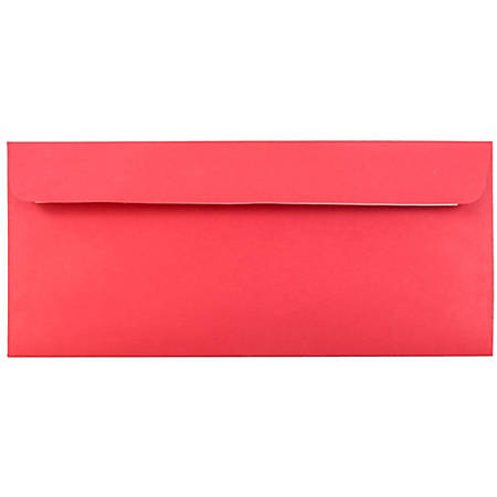 "JAM Paper® Booklet Envelopes With Peel And Seal Closure, #10, 4 1/8"" x 9 1/2"", 30% Recycled, Red, Pack Of 25"