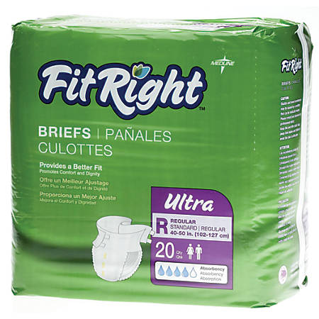 "FitRight Ultra Briefs, Regular, 40 - 50"", Purple, Bag Of 20"