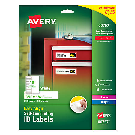 """Avery® Easy Align™ Self-Laminating ID Labels, AVE00757, 1 1/16"""" x 3 1/2"""", White, Pack of 250"""
