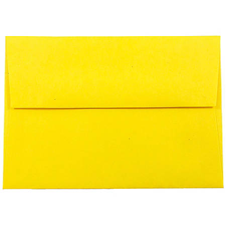 """JAM Paper® Booklet Envelopes With Gummed Closure (Recycled), 4 Bar A1, 3 5/8"""" x 5 1/8"""", 30% Recycled, Yellow, Pack Of 25"""