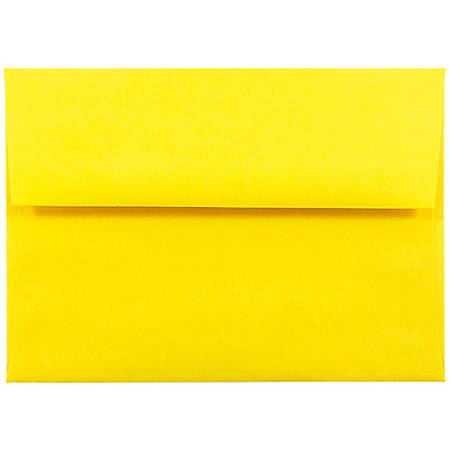 """JAM Paper® Booklet Invitation Envelopes (Recycled), A6, 4 3/4"""" x 6 1/2"""", 30% Recycled, Yellow, Pack Of 25"""