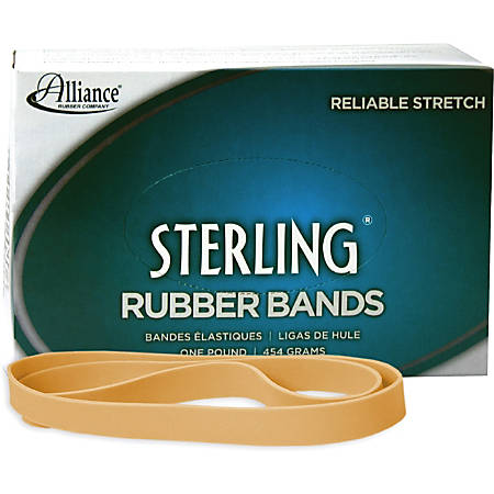 """Alliance Rubber 25075 Sterling Rubber Bands - Size #107 - Approx. 50 Bands - 7"""" x 5/8"""" - Natural Crepe - 1 lb Box"""