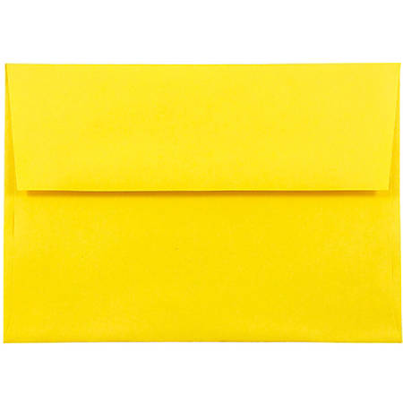 "JAM Paper® Booklet Invitation Envelopes (Recycled), A8, 5 1/2"" x 8 1/8"", 30% Recycled, Yellow, Pack Of 25"