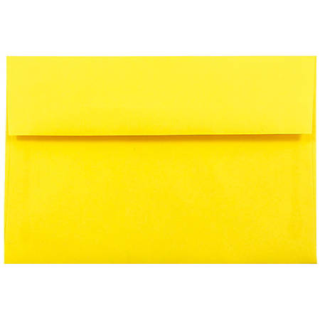 """JAM Paper® Booklet Invitation Envelopes, A10, 6"""" x 9 1/2"""", 30% Recycled, Yellow, Pack Of 25"""