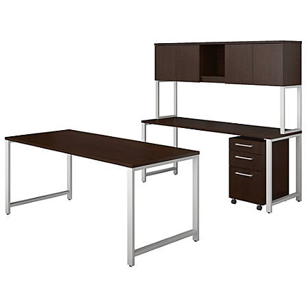 """Bush Business Furniture 400 Series 72""""W x 30""""D Table Desk And Credenza With Hutch And 3 Drawer Mobile File Cabinet, Mocha Cherry, Standard Delivery"""