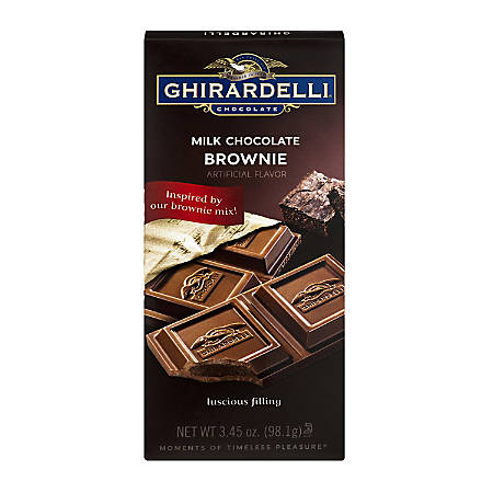 Ghirardelli® Chocolate Bars, Milk Chocolate Brownie, 3.5 Oz, Pack Of 12 Bars