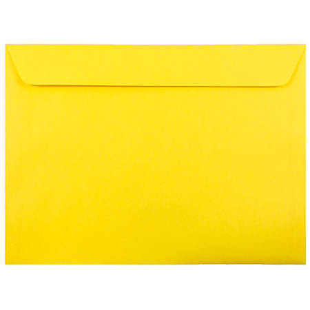 "JAM Paper® Booklet Envelopes With Gummed Closure, 9"" x 12"", 30% Recycled, Yellow, Pack Of 25"