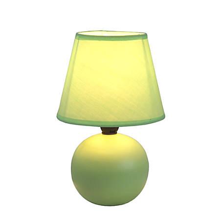 "Simple Designs Mini Globe Table Lamp, 8 7/8""H, Green Shade/Green Base"