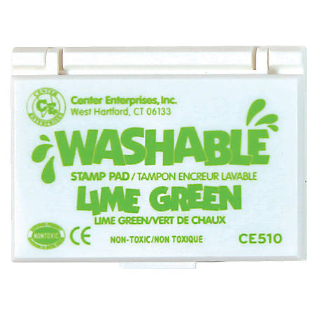 "Center Enterprise Washable Stamp Pads, 2 1/4"" x 3 3/4"", Lime Green, Pack Of 6"