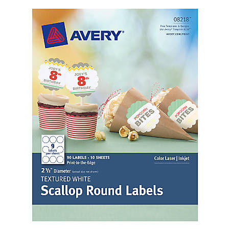 "Avery® Print-To-The-Edge Permanent Scallop Labels, AVE08218, 2 1/2"" Diameter, Textured White, Pack Of 90"